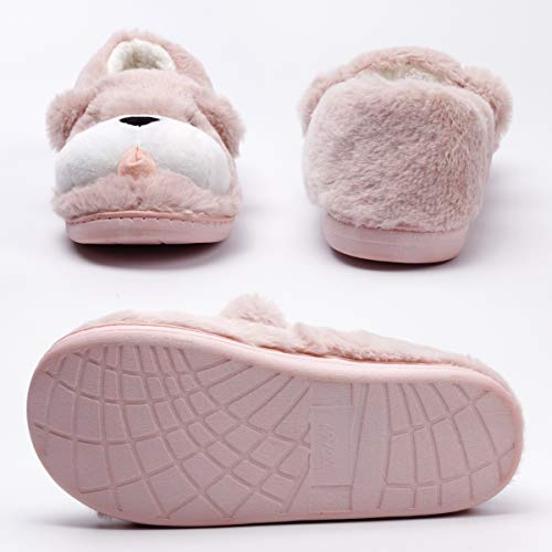 Indoor Low Slippers Slippers Fuzzy Dog Shoes Warm Pink House Outdoor Animal Cute Women YOqR8wX