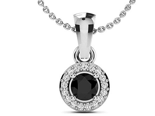 Or Blanc 18 ct Pendentifs Diamant en forme de Rond, 0.218 ct Diamant, GH-SI, 1.44 grammes.