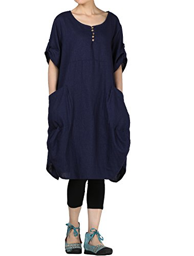 Mordenmiss Women's Cotton Linen Dresses Plus Size Summer Roll-up Sleeve Baggy Sundress with Pockets 2XL Blue ()