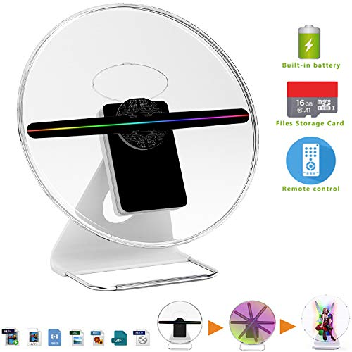 【256 PCS LED,Wall Mounted & Portable】3D Holographic Fan Hologram Digital Display Photo/512P HD Video at Home,Office,Entertainment and Shops,Remote Control 160 Degree Wide Viewing Angle,iDiskk【12inch】