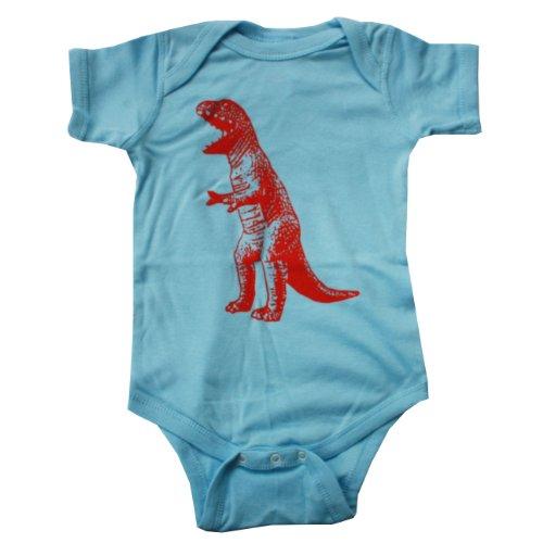 Happy Family T Rex Dinosaur Light Blue Baby Boy Bodysuit (Newborn)