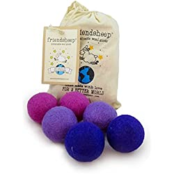 Friendsheep Eco Wool Pet Toy Ball - Cat, Ferret, Small Dog - Fair Trade, Handmade in Nepal, Eco-Friendly - 100% Wool, 6-Pack (Balls x6, Purple Rain)