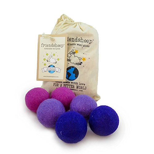 Friendsheep Eco Wool Pet Toy Ball - Cat, Ferret, Small Dog - Fair Trade, Handmade in Nepal, Eco-Friendly - 100% Wool, 6-Pack (Balls x6, Purple ()