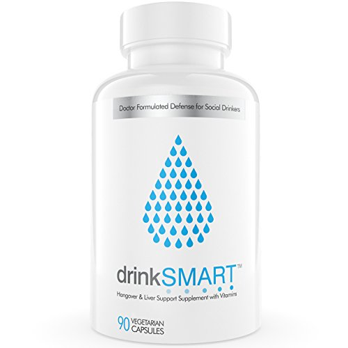 drinkSMART Hangover Cure & Prevention Pills | After Alcohol Aid | Developed by Harvard Researcher & PHD | Prickly Pear, DHM, NAC, ALA, Organic Milk Thistle (30 Servings)