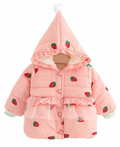 Kids Baby Girls Strawberry Print Down Hooded Peacoat Winter Cotton-Padded Windproof Jacket Size 18-24 Months/Tag100 (Pink)