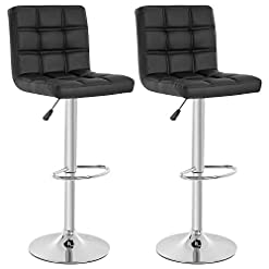 Kitchen Modern Bar Stool Set of 2 Barstools Height Adjustable Counter Height Swivel Bar Stool PU Leather Bar Chairs Hydraulic… modern barstools