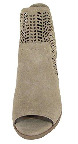 Soda Women's Laser Cut Side V Cutout Open Toe Stacked Chunky Heel Bootie Light Taupe Imsu