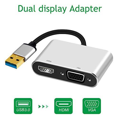 (USB 3.0 to HDMI VGA Adapter, Weton Dual Display Video Adapter for Windows 7/8/10, 2 in 1 USB to HDMI Adapter Dual Output 1080P HD Converter USB 3.0 Hub, Plug and Play)
