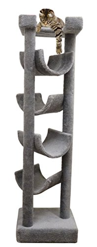 Carpet Cat Tower for Large Cats 72 inch Wood Cat Tree in Gray by CozyCatFurniture