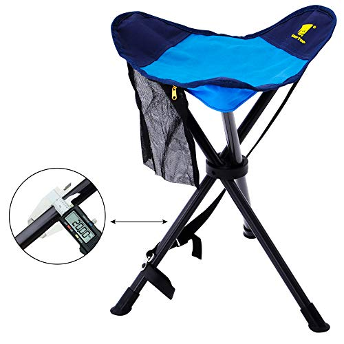 GEERTOP Lightweight Portable Folding Tripod Stool Slacker Chair with Mesh Pocket for Fishing Camping Hiking Hunting Outdoor