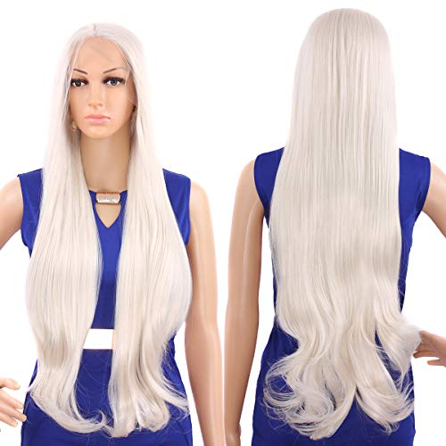 Golden Hair Wig Blonde - Tripal Hairs Soft Platinum Blonde Natural Wavy Lace Front Wigs Synthetic Hair for White Women Beautiful Handmade Fiber Hair Wigs Heat Resistant (28