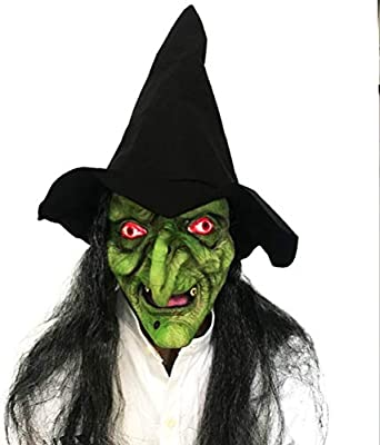Látex Cabeza Completa máscara de Bruja Verde aterradora máscara ...