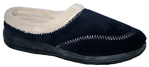 Ladies parte baja de la espalda de espuma con forro de pelo zapatillas con suela de goma Navy stich