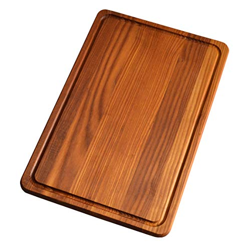 NaturalDesign Cutting Board 18 x 12 x 0.8 in Edge Grain Chopping Block with Juice Groove Thermo Ash-tree Wood Hardwood Extra Thick Serving Platter Durable & Resistant Red ()