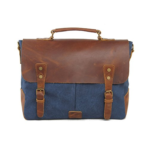 "VRIKOO Vintage Genuine Leather Military Canvas 14"" Laptop Briefcase Messenger Bag (Coral Green) Azul Profundo"