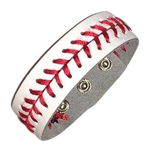 White Leather Baseball Seam Bracelet Large, - Bracelet Leather Baseball