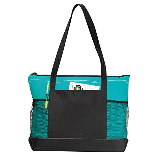 Zippered Uniform - Select Zippered Tote (Assorted Colors) - Can Be Embroidered (Turquoise)