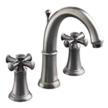 American Standard 7420.821.295 Portsmouth Widespread Lavatory Faucet with Speed Connect Drain with Cross Handles, Crescent Spout, Satin Nickel