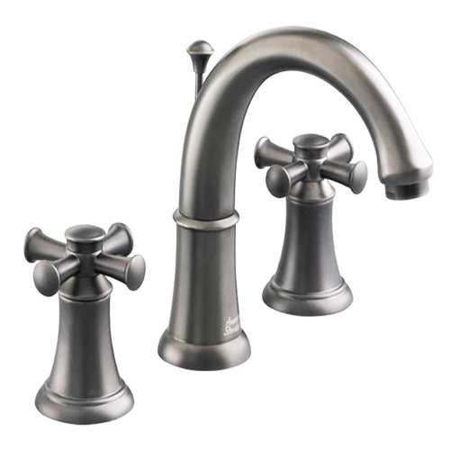 American Standard 7420.821.295 Portsmouth Widespread Lavatory Faucet with Speed Connect Drain with Cross Handles, Crescent Spout, Satin -