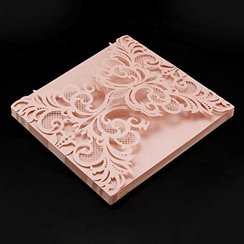 (DEH 10Pcs Flower Wedding Invitation Cards Envelopes Cover Wedding Decoration - Pink(Square))