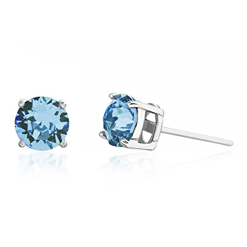 (Devin Rose 6mm Round Solitaire Stud Earrings for Women Made with Swarovski Crystal in Rhodium Plated 925 Sterling Silver (Crystal Light Turquoise Imitation December Birthstone))