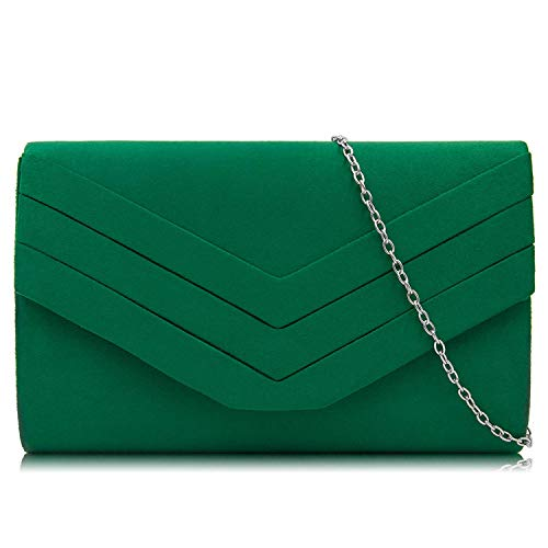 Green Clutch Purse - Milisente Evening Bag for Women, Suede Envelope Evening Purses Crossbody Shoulder Clutch Bag (Green)