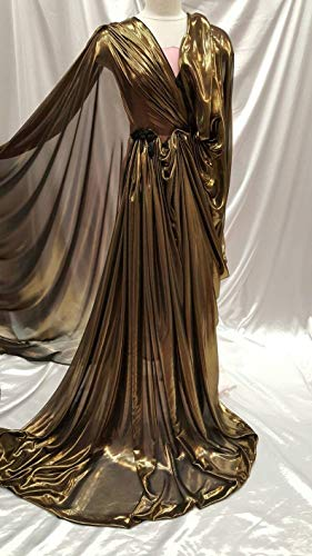 Gold Metalic Chiffon Silk Black Background Soft Flowy Prom Fabric Sold by The Yard Gown Quinceañera Bridal Evening Dress Decoration Draping