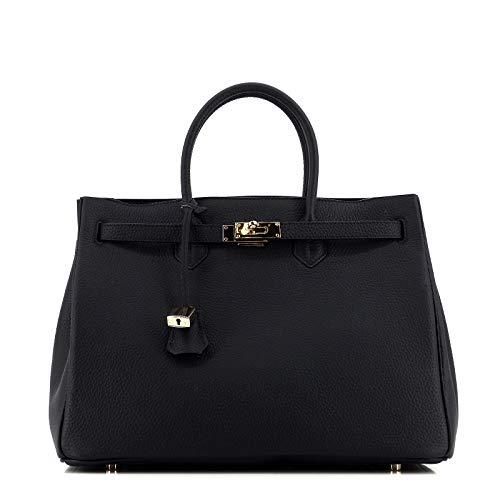 Moyenne Cm Femme Noir Tote munet Pour Bag icone Bandoulière Studio En amp; Cuir Rouven À taille 35 Gold black Sac 35x26x18 ax6wcUg