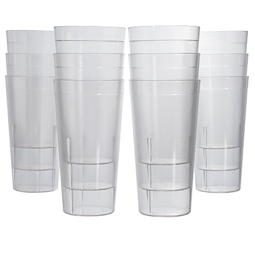 Café Break-Resistant Plastic 32oz Restaurant-Quality Beverage Tumblers | Set of 12 Clear by US Acrylic