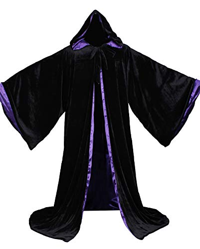 LuckyMjmy Velvet Wizard Robe with Satin Lined Hood and Sleeves (Black-Purple)]()