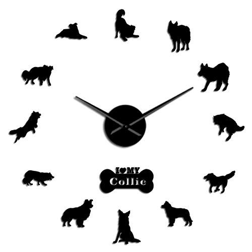 MMLUCK Dog Breed Border Collie Silhouette Wall Sticker Frameless DIY Giant Wall Clock Home Decor Scottish Sheepdog Dog Paw Wall Clock (Black) 47inch