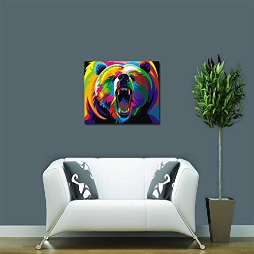 Unframed Modern Abstract Oil Painting Watercolor Bear Huge Wall Decor Art On Canvas