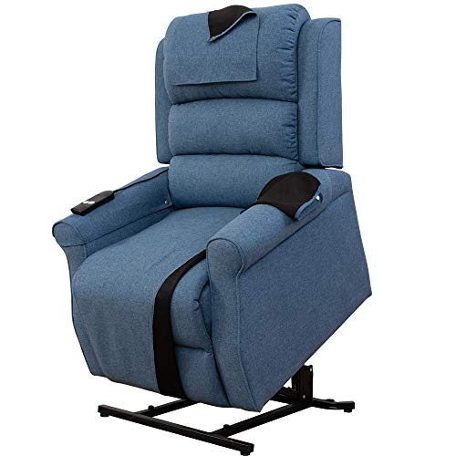 - Irene House Power Modern Transitional Lift Chair Recliners with Soft Linen(Brushed ) Fabric (Blue)