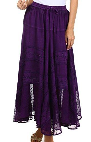 Sakkas 13222 Ivy Maiden Boho Jupe - Purple - One Plus Size