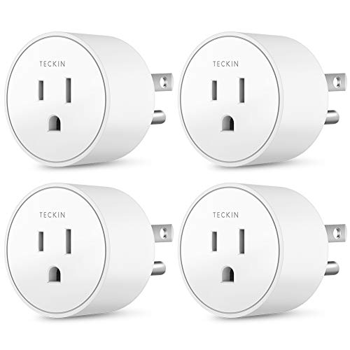 Smart Outlet Works with Google Assistant IFTTT for Voice Control, Teckin Mini Smart Plug Wifi Socket with Timer Function, No Hub Required, White 4 pack (Upgrade Version)