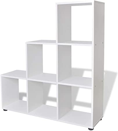 vidaXL Estantería para Libros en Forma de Escalera con Dimensiones 107 cm Color Blanca: Amazon.es: Hogar