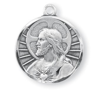 Scapular Medal Pendant - Sterling Silver Round 1Inch Jesus Christ Scapular Religious Medal Pendant