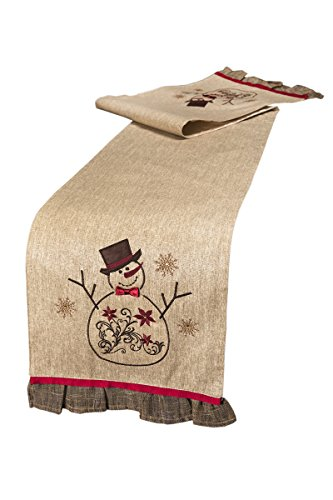 Xia Home Fashions Snowman Embroidered Collection Christmas Table Runner, 13 by 72-Inch (Snowman Jewels Christmas)
