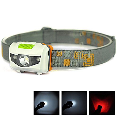 LingsFire White Bulb Spotlight 2 Red LED Lights 4 Modes 100 Lumens Waterproof LED Headlamp Headlight Powered by 3 x AAA Battery LED Lamp for Running Mountain Climbing Camping Hunting Hiking Night WalkingBatteries not included White