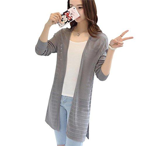 (ワンース) Wansi レディース カーディガン ニット サイド スリット ボタンなし ロング丈 薄手 透かし彫り 森ガール サマーニット 冷房対策 通気性 超軽量 アウトドア 普段着 柔らか ゆる感 修身 立体裁断 デート グレー L