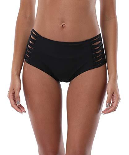 Vegatos Women's Swim Bottoms High Waist Full Coverage Swimsuit Briefs Black M