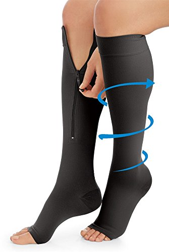 Black Zipper Compression Socks Multi Colored