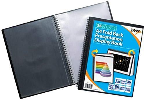 A4 Easel Fold Back Flip Presentation Twin Wire Black Display Book - 36 Pockets