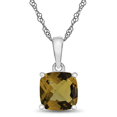Finejewelers 10k White Gold 7mm Cushion Citrine Pendant Necklace