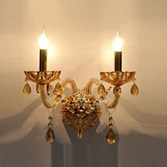 hua Dramatic Luxurious Wall Sconce Offers Impressive Look with Champagne Crystal
