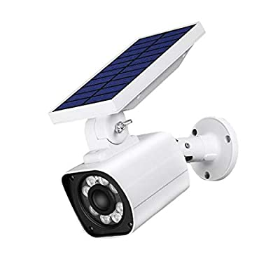 Solar Simulated Camera, Flood Light Security Outdoor Flashing LED, Waterproof Solar Power Charging Lights with Motion Sensor,Adjustable Head