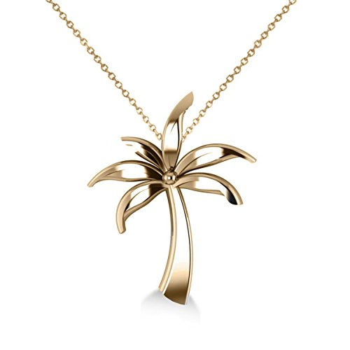 Allurez Summer Palm Tree Ladies Pendant Necklace in 14k Yellow Gold by Allurez