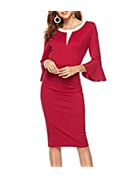 CEASIKERY Womens Elegant Flare Sleeves Office Pencil Wear to Work Bodycon Dress 45