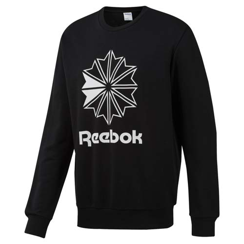 Sweatshirts Reebok Crewneck - Reebok Big Starcrest Crew Neck Sweatshirt, Black/White, Medium
