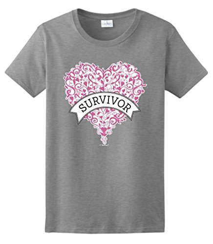 Breast Cancer Supplies Breast Cancer Survivor Gift Pink Heart Banner Ladies T-Shirt Large SpGry - Breast Cancer Pink Heart